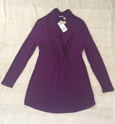 NEW WITH TAG Nursing Breastfeeding Maternity Stretchy Small Purple Top US SELLER