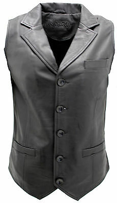 Man Party Black Edwardian Formal Waist Coat Fashion Classic Real Soft Leather