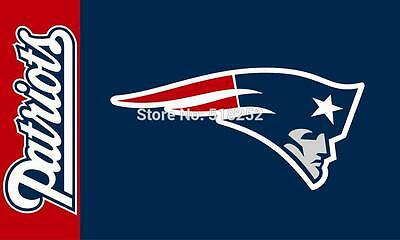 "NFL New England Patriots ""Logo with Text"" Banner Flag - 3X5 FT"