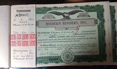 Modern Binders Inc. of Pittsburgh Complete Book of Stock Certificates