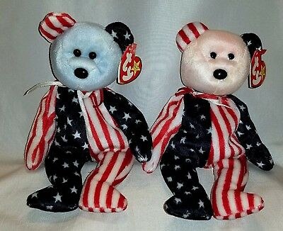 Spangle Blue Head & Red Head Ty Beanie Baby set of 2 - MWMT - FREE SHIPPING