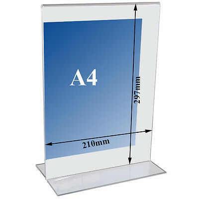 T shape Acrylic Poster Menu Holder Perspex Leaflet Display pocket Stand A4 A5 A6