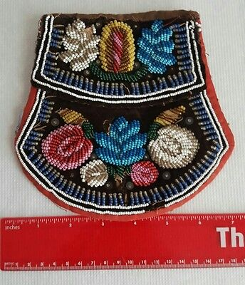 1860s Antique Beaded Purse Pouch Bag Native American Indian Iroquois