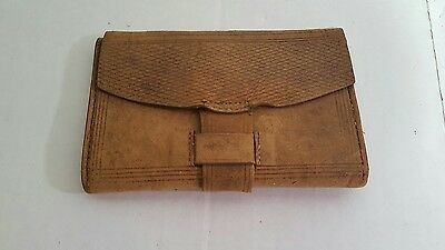 Antique 1800's leather wallet document holder 1889
