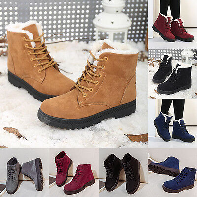 Womens Suede Ankle Snow Boots Winter Warm Fur Thicken Ski Outdoor Shoes Casual