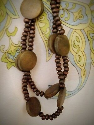 Hippie Double Stranded Brown Wooden Flat Round Beads long Necklace Vintage 70s
