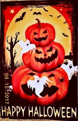 "Scary Jack-O'-Lanterns Bats & Ghosts In Front Of Moon 12"" X 18"" Garden Flag"