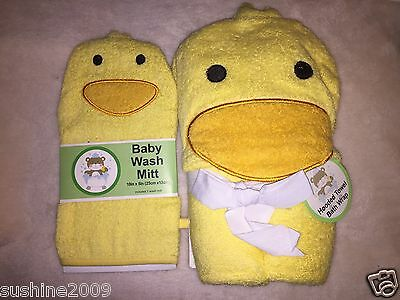 Adorable! Duck Hooded Towel Bath Wrap and Matching Bath Mitt  - Ducky- Yellow