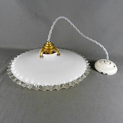 Vintage French Ruffled Opaline Milk Glass Ceiling Shade, w/Hardware, Ø 25 cm