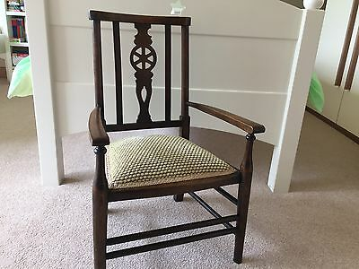 Vintage Antique Style Child's Oak Chair was rush seat Designer Guild upholstery