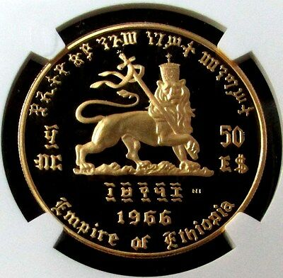 1966 Gold Ethiopia $50 Coin Ngc Proof 67 Ultra Cameo Haile Selassie The First