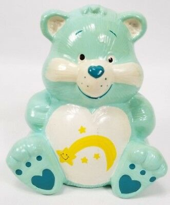 "Vintage Care Bears Wish Bear Piggy Bank Shooting Star Ceramic 5"" Tall w/ Plug"