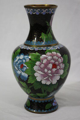 """Vintage Chinese CLOISONNE 10 1/4"""" Vases with Bird and Floral Motiff: 1950's"""