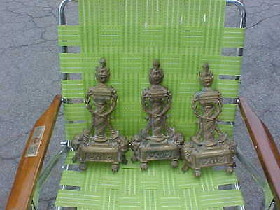 Antique 20th C. French Victorian  Ornate Brass Bronze Fireplace Andirons  parts