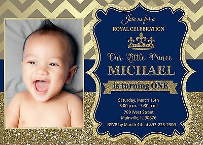 Prince birthday invitation royal baby boy invite digital file prince royal king blue gold first birthday one birthday filmwisefo