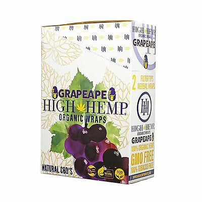 GRAPE High Hemp Herbal Organic Wraps full box of 25 pouches  (50 total wraps)