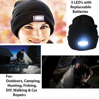 5 LED BEANIE HAT Built in LIGHT -UNISEX Camping Fishing Walking DIY & Car Repair