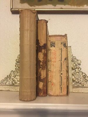 LOT OF 3 ANTIQUE OLD VINTAGE BOOKS Neutral Beig1886 -1905  DECORATOR SHABBY CHIC