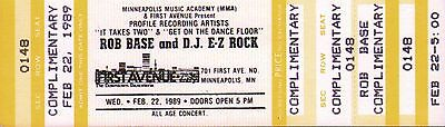 ROB BASE and D.J. E-Z ROCK - Unused Concert Ticket First Avenue Minneapolis 1989