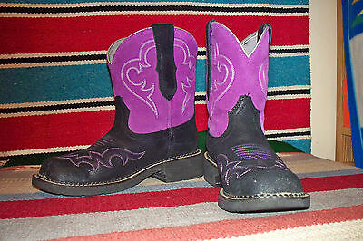 Ariat Women's Fatbaby Collection Western CowGal Boot Roughed Black/Purple