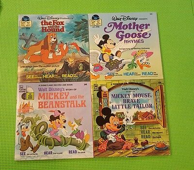 Lot of 8 Walt Disney See. Hear. Read Along Books and Records 33 1/3 RPM