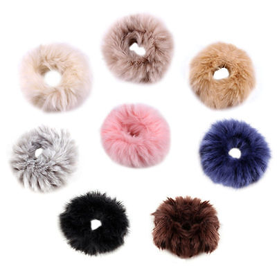 1pc Fluffy Faux Fur Furry Scrunchie Elastic Hair Ring Rope Band Tie 8cm Fashion