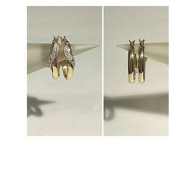 SOLID 9ct Yellow Gold - Sparkling Genuine Diamond 'Ribbon Feature' Hoop Earrings