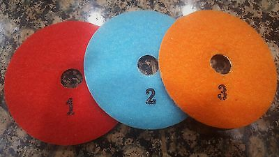 3 Step Diamond Polishing Pad for Granite Marble Quartz Concrete 4inches Full Set