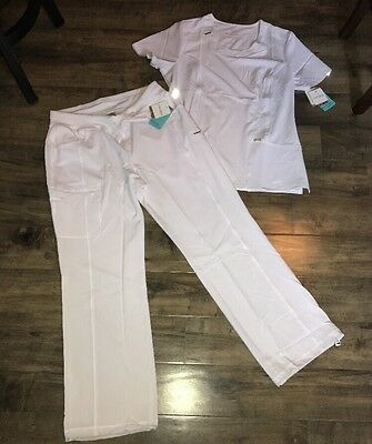 CHEROKEE INFINITY SOLID White New SCRUB SET TOP PANTS Large Both NWT