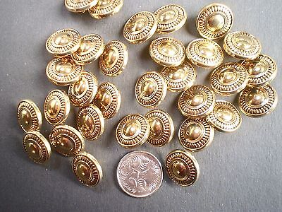 30 ANTIQUE GOLD SHANK BUTTONS SIZE 15mm