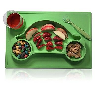 Non Slip Car Shaped Large Silicone Placemat 3 compartment + Spoon babies kids