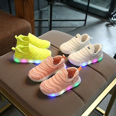 Kid's Boys Girls LED Light Up Slip On Sports Shoes Casual Antiskid Sneakers