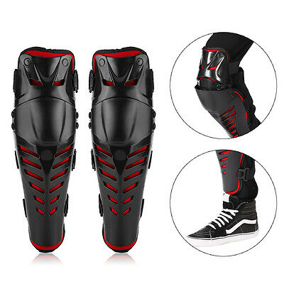 Motorcycle Motocross Cycling Knee Pad Brace Shin Armor Protector Guard Red Black