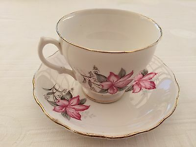 Vintage Royal Vale China  England TeaCup/Saucer Duo Clematis pattern