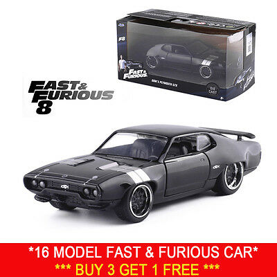 Jada 1:32 Fast And Furious 8 Dom's 1972 Plymouth Gtx Black Diecast Model Car Toy