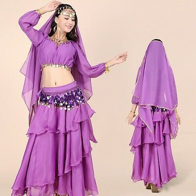 AU Belly Dance Tiered Skirt Full Circle Tribal Dancing Layers Full Circle Dress