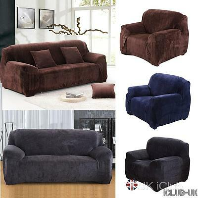Sofa VELVET Couch Slip Easy Fit Stretch Cover Elastic Fabric Settee Protector