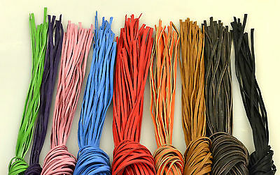 Bundle of 10 Colour Leather thongs, straps, strips, 140cm - 240cm (5-10mm wide)