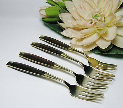 4 x Vintage THAI BRONZE CAKE FORKS with ROSEWOOD Handles * Thailand Cutlery