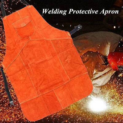 Cowhide Leather Welding Protective Apron Heat Resistant Soldering Mechanic Smock