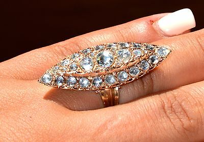 """Certified 1.8"""" Long Antique European Gold Ring Over 7 ctw Old Rose Cut Diamonds"""