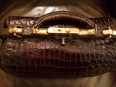 Antique Alligator Belly Skin & Brass Doctor Bag Edwardian