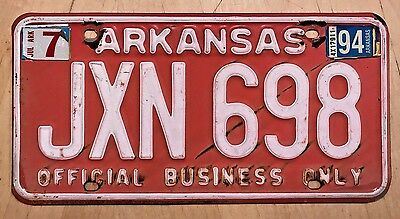 """Arkansas Official Business Only License Plate  """" Jxn 698 """" Ar"""