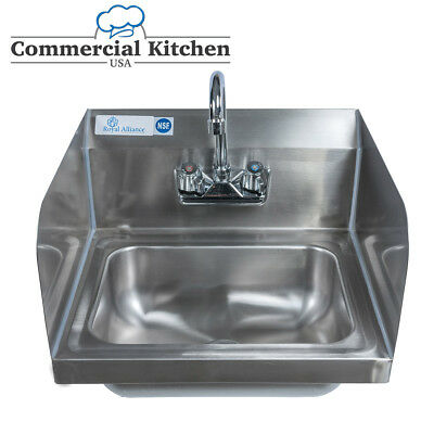 "Stainless Steel Wall-Mount Hand Sink 9"" x 9"" Bowl with Faucet Side Splashes NSF"