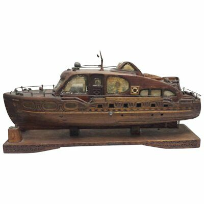 """19th Century Distressed Wood Boat Model """"Miss C.B. Fuller"""" of Maine"""