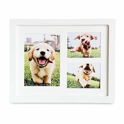 "Dog or Cat Paw Prints Pet Memorial Triple Photo Frame 4"" x 6"" White Picture Clay"
