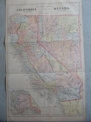 Nice Large Hand Colored 1890 Map of California and Nevada withTexas on the Back