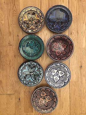Moroccan Colourful Patterned Clay Mezze Side Plates 17cm