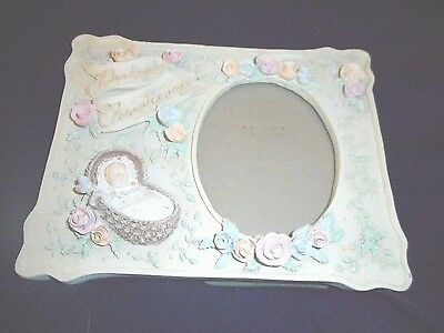 Baby's Christening Photo Frame  Fits large wallet photo ,ceramic