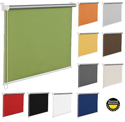Made to Measure Blackout/Thermal Window Roller Blinds, Red, Grey, Green, White